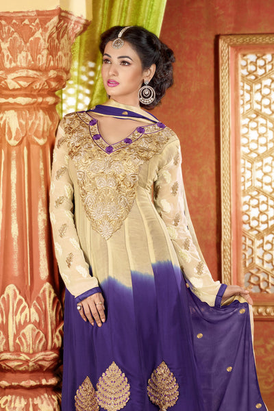 atisundar Archana: Semi stitched Anarkali In Beige - 3734 - atisundar - 4 - click to zoom