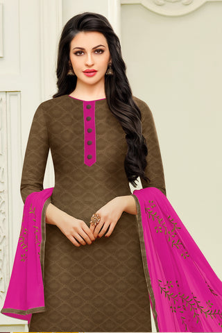 Designer Straight Cut:atisundar gorgeous Brown Designer Embroidered Suit - 14529