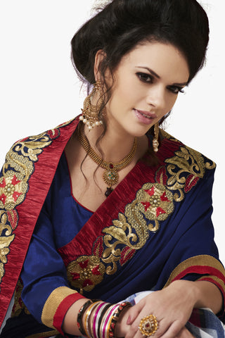 Designer Party wear Saree:atisundar cute Party wear Sarees with designer blouses and embroidered border in Blue And Red  - 10750 - atisundar - 2 - click to zoom