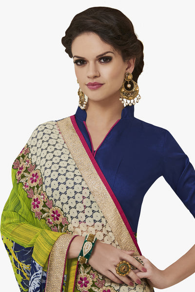 Designer Party wear Saree:atisundar magnificent Party wear Sarees with designer blouses and embroidered border in Green And Blue  - 10753 - click to zoom