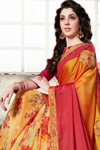 Half N Half Georgette Printed with embroidery and Stone Work:atisundar graceful Designer Embroidery Half Half Saree in Multi  - 15355