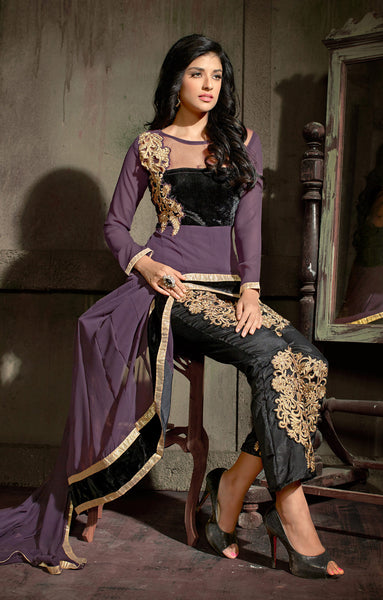 Designer Embroidered Suit:atisundar Superb Purple Designer Embroidered Suits - 8366 - atisundar - 3 - click to zoom
