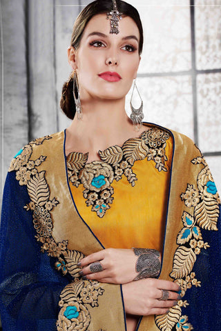 Designer Saree:atisundar Superb Designer Party Wear Saree in Yellow And Blue  - 13520