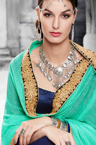 Designer Saree:atisundar radiant Designer Party Wear Saree in Green And Blue  - 13523