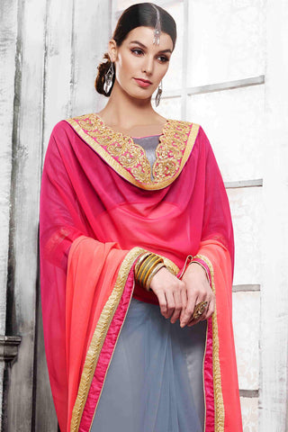 Designer Saree:atisundar fascinating Designer Party Wear Saree in Pink And Grey  - 13524
