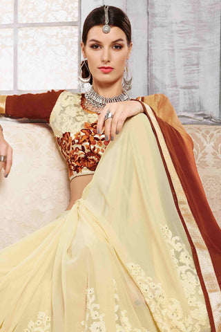 Designer Saree:atisundar delightful Designer Party Wear Saree in Brown And Cream  - 13525