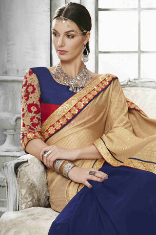 Designer Saree:atisundar excellent Designer Party Wear Saree in Cream And Blue   - 13527