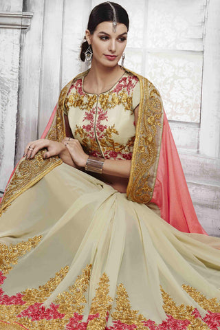 Designer Saree:atisundar admirable Designer Party Wear Saree in Peach And Cream  - 13529