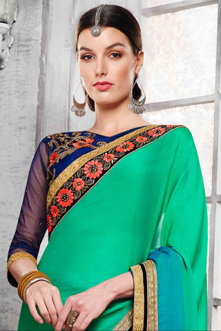 Designer Saree:atisundar divine Designer Party Wear Saree in Green  - 13530