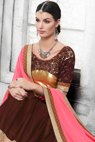 Designer Saree:atisundar pretty Designer Party Wear Saree in Pink And Brown  - 13531