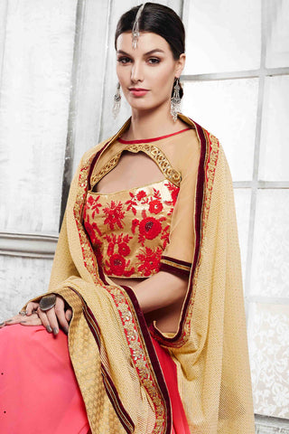 Designer Saree:atisundar pretty Designer Party Wear Saree in Red And Cream  - 13532