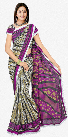 atisundar Mausumi: Attractive Purple Colored Saree In Faux Georgette - atisundar - 1 - click to zoom