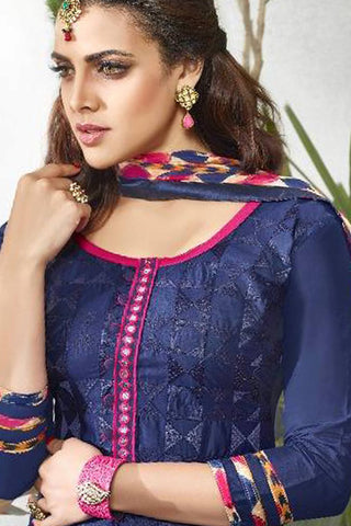 Designer Straight Cut:atisundar classy Blue Designer Party Wear Straight Cut - 13168