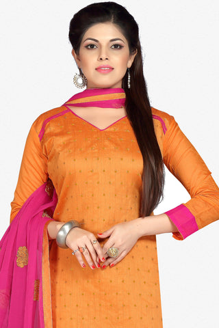 Designer Straight Cut:atisundar gorgeous Orange Designer Party Wear Straight Cut in Faux Chanderi - 12404 - atisundar - 2
