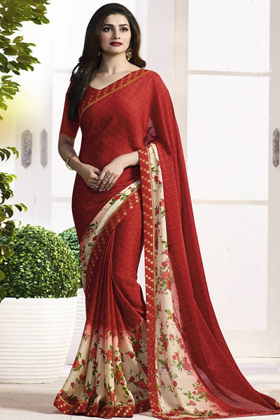Designer Saree:atisundar wonderful Designer Party Wear Saree Featuring Prachi Desai in Red  - 13733 - click to zoom