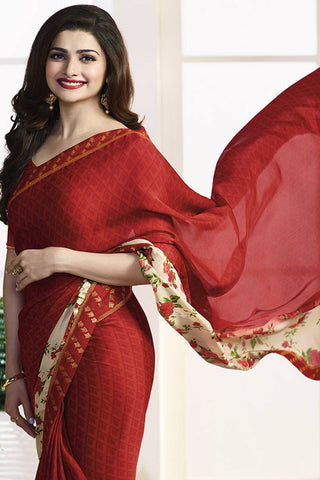 Designer Saree:atisundar wonderful Designer Party Wear Saree Featuring Prachi Desai in Red  - 13733