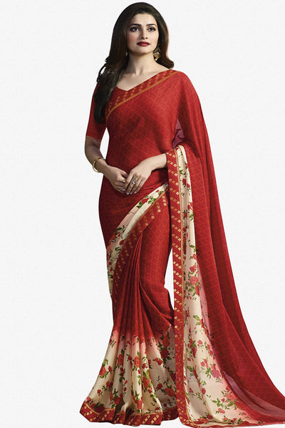 8a478a7d99 Designer Saree:atisundar wonderful Designer Party Wear Saree Featuring Prachi  Desai in Red - 13733