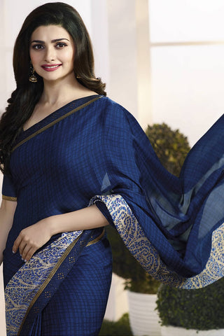 Designer Saree:atisundar enticing Designer Party Wear Saree Featuring Prachi Desai in Blue  - 13734