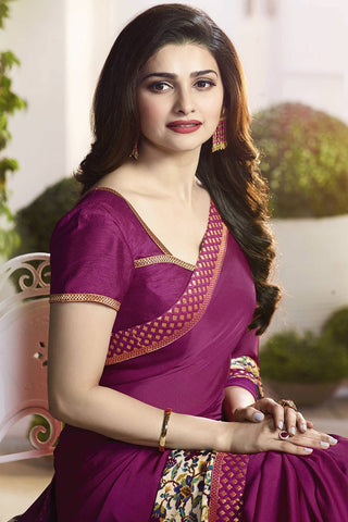 Designer Saree:atisundar Alluring Designer Party Wear Saree Featuring Prachi Desai in Purple  - 13735