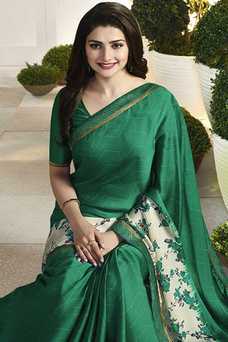 Designer Saree:atisundar appealing Designer Party Wear Saree Featuring Prachi Desai in Green  - 13737