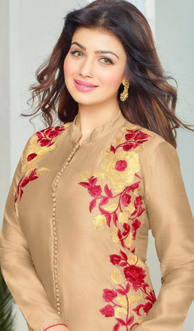 The Ayesha Takia Collection:atisundar Charismatic Beige Embroidered Designer Straight Cuts in Cambric Cotton Featuring Ayesha Takia - 10125 - atisundar - 4