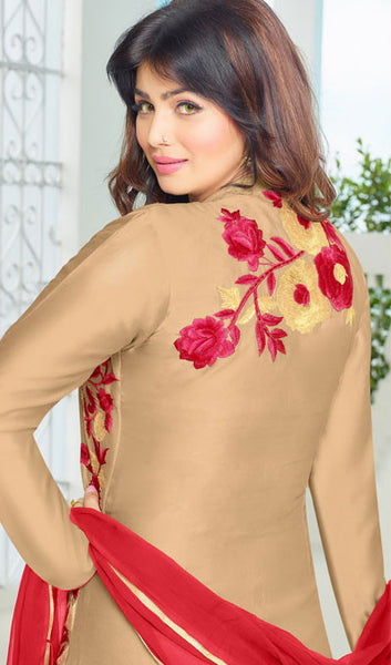 The Ayesha Takia Collection:atisundar Charismatic Beige Embroidered Designer Straight Cuts in Cambric Cotton Featuring Ayesha Takia - 10125 - atisundar - 2 - click to zoom