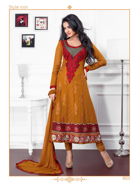 atisundar Surabhi: Elegant Semi stitched Anarkali In Brown - 3718 - atisundar - 3 - click to zoom