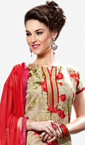 Designer Straight Cut Suits:atisundar refined Beige And Red Designer Printed Suits In Bhagalpuri - 9832 - atisundar - 3