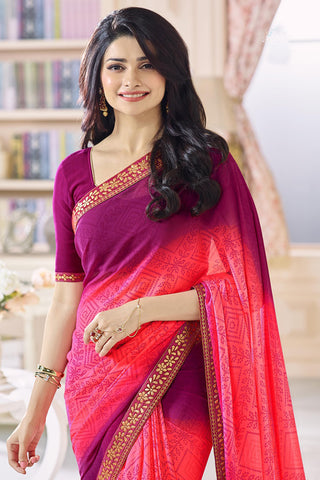 Designer Party Wear Saree:atisundar delightful Designer Party Wear Saree Featuring Prachi Desai in Pink and Wine  - 14131