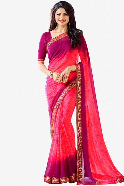 Designer Party Wear Saree:atisundar delightful Designer Party Wear Saree Featuring Prachi Desai in Pink and Wine  - 14131 - click to zoom