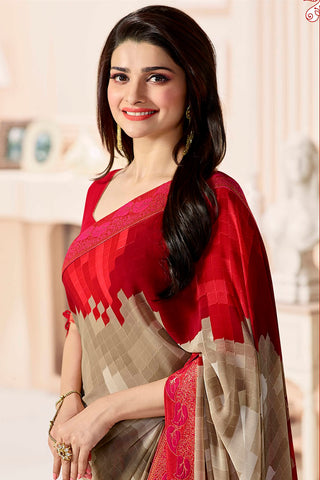 Designer Party Wear Saree:atisundar stunning Designer Party Wear Saree Featuring Prachi Desai in Brown And Red  - 14133