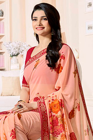 Designer Party Wear Saree:atisundar elegant Designer Party Wear Saree Featuring Prachi Desai in Peach  - 14134
