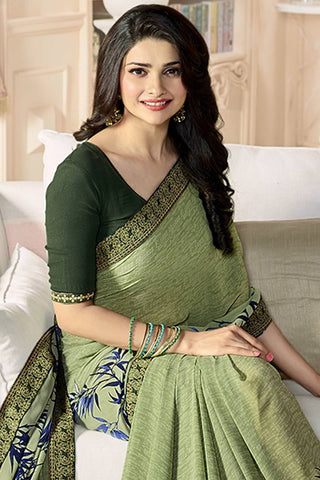 Designer Party Wear Saree:atisundar enticing Designer Party Wear Saree Featuring Prachi Desai in Green  - 14135