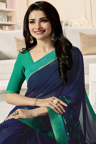 Designer Party Wear Saree:atisundar classy Designer Party Wear Saree Featuring Prachi Desai in Blue  - 14137
