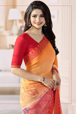 Designer Party Wear Saree:atisundar Alluring Designer Party Wear Saree Featuring Prachi Desai in Orange  - 14138