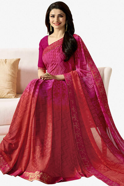 Designer Party Wear Saree:atisundar resplendent Designer Party Wear Saree Featuring Prachi Desai in Pink  - 14142 - click to zoom