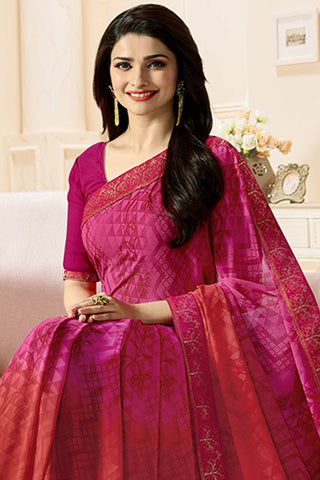 Designer Party Wear Saree:atisundar resplendent Designer Party Wear Saree Featuring Prachi Desai in Pink  - 14142