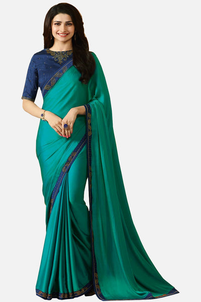Designer Georgette Saree With Stonework and Handprint:atisundar classy Designer Print with Border in Green  - 14939 - click to zoom