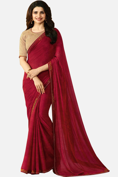 Designer Georgette Saree With Stonework and Handprint:atisundar bewitching Designer Print with Border in Red  - 14940 - click to zoom