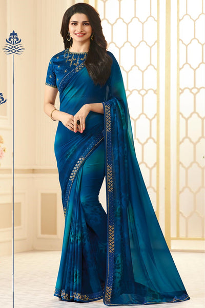 Designer Georgette Saree With Stonework and Handprint:atisundar resplendent Designer Print with Border in Blue  - 14943 - click to zoom