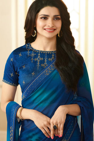 Designer Georgette Saree With Stonework and Handprint:atisundar resplendent Designer Print with Border in Blue  - 14943