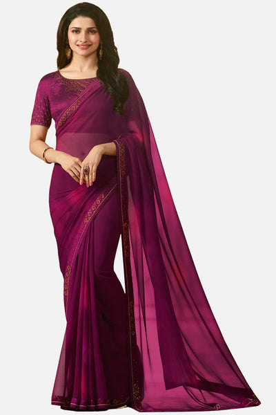 Designer Georgette Saree With Stonework and Handprint:atisundar graceful Designer Print with Border in Purple  - 14944 - click to zoom