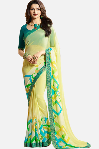Casual Designer Fancy Georgette With Print:atisundar Smart Designer Printed Daily Desires In Faux Georgette in Yellow  - 14952 - click to zoom