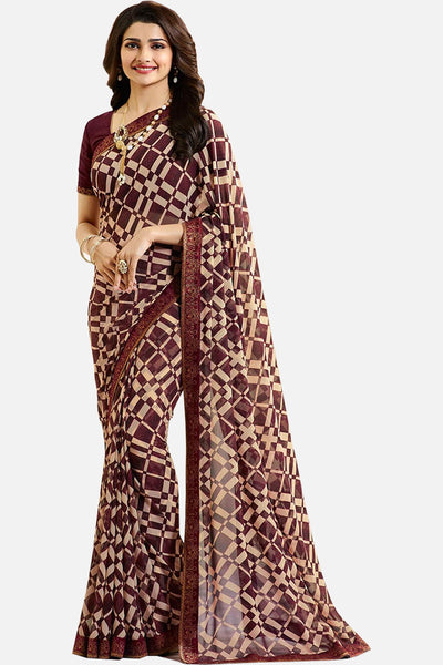Casual Designer Fancy Georgette With Print:atisundar wonderful Designer Printed Daily Desires In Faux Georgette in Brown  - 14953 - click to zoom