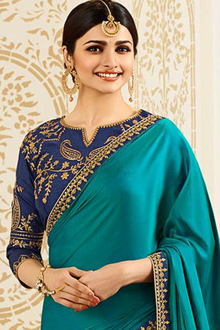 Designer Saree With Embroidered Blouse:atisundar delightful Designer Party Wear Saree Featuring Prachi Desai in Blue  - 15127