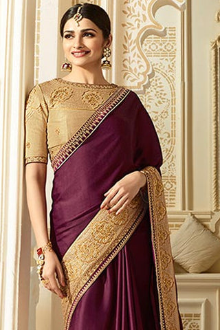 Designer Saree With Embroidered Blouse:atisundar admirable Designer Party Wear Saree Featuring Prachi Desai in Purple  - 15128