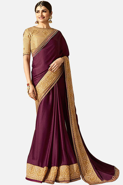 Designer Saree With Embroidered Blouse:atisundar admirable Designer Party Wear Saree Featuring Prachi Desai in Purple  - 15128 - click to zoom
