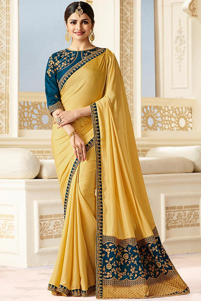 Designer Saree With Embroidered Blouse:atisundar refined Designer Party Wear Saree Featuring Prachi Desai in Yellow  - 15130 - click to zoom
