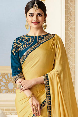Designer Saree With Embroidered Blouse:atisundar refined Designer Party Wear Saree Featuring Prachi Desai in Yellow  - 15130