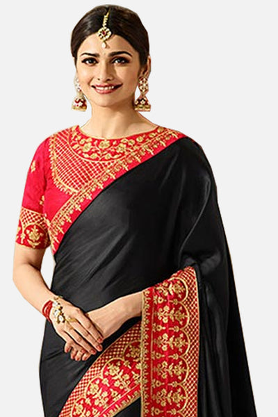 Designer Saree With Embroidered Blouse:atisundar charming Designer Party Wear Saree Featuring Prachi Desai in Black  - 15131 - click to zoom